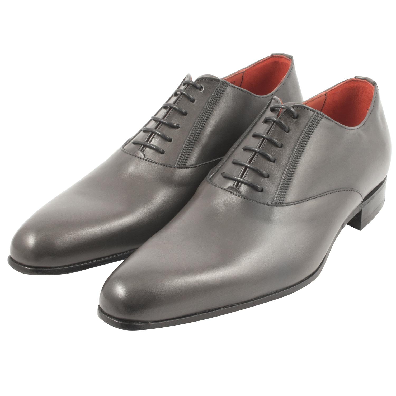 7b460d6937c Chaussure italienne Brosnam en cuir lisse gris - Exclusif