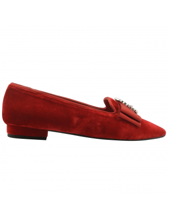 Chaussure-velours-Favorite-rouge