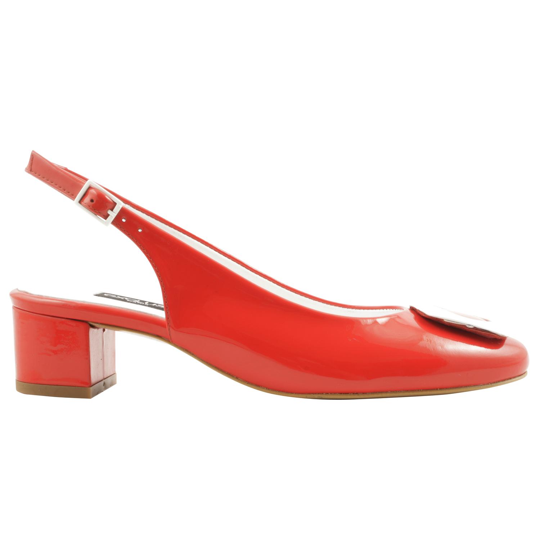 Soulier rouge, l'escarpin bout ouvert original sur talon fin et patin.