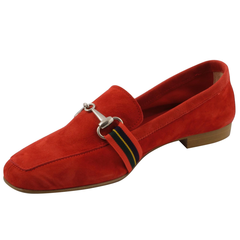 meilleure sélection d73f4 df510 mocassin femme rouge en nubuck de fabrication italienne ...