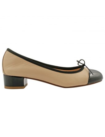 ballerine-bi-color-nude-cuir-Monica