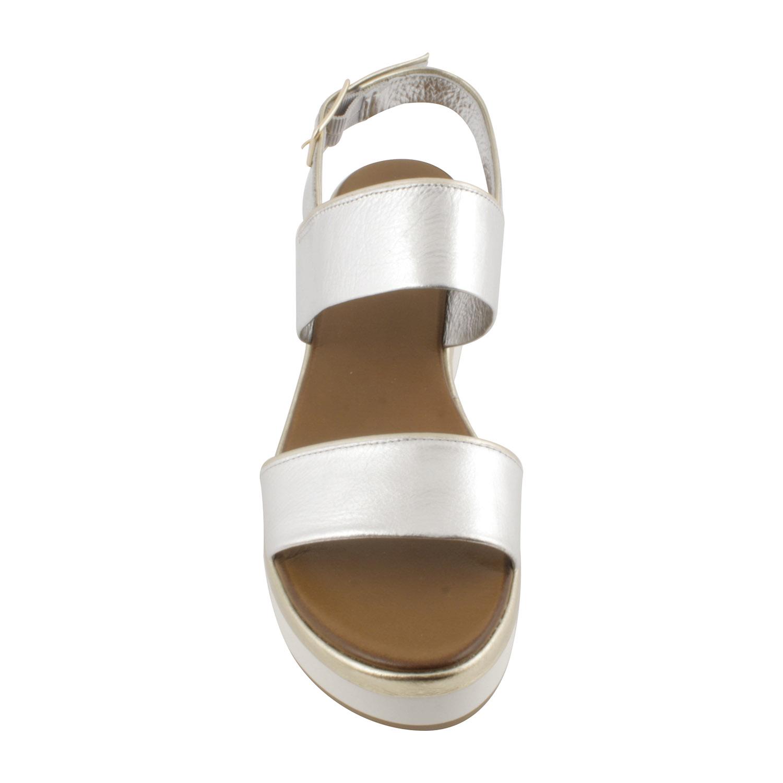Une Voici Blanc Aux Touches Compensée Doré Sandale Argentée Et De fgIymYb76v