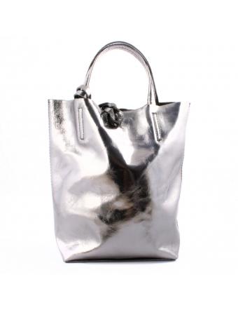 sac-a-main-métal-argenté-femme-Cabas-Mini