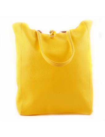 sac-cuir-jaune-Cabas