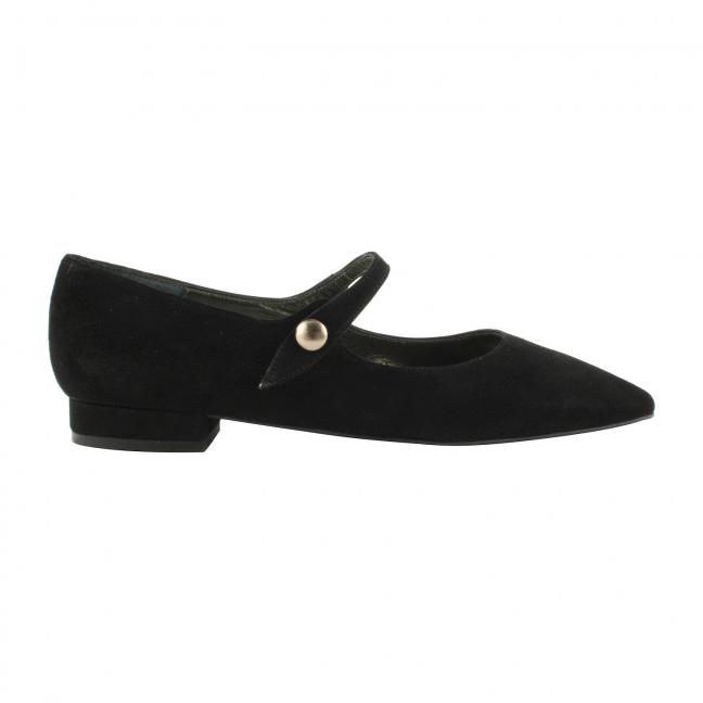 Chaussures-Plates-Nubuck-Noir-Abby