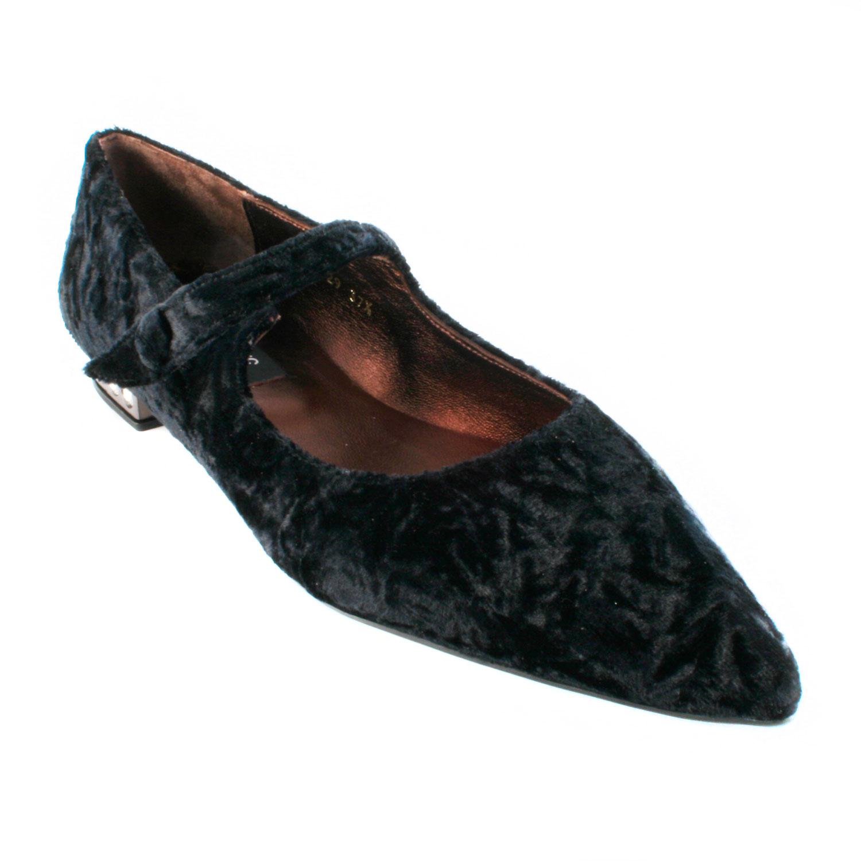 Chaussures de ballerine en velours bleu fonc/é pour fille avec sac /à dos assorti