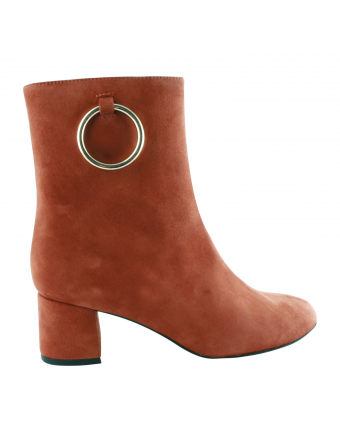 Bottines-Cuir-Orange-Femme-Faye