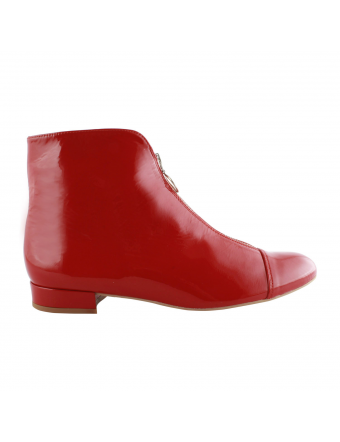 Bottines-Plates-Vernies-Rouge-Charly