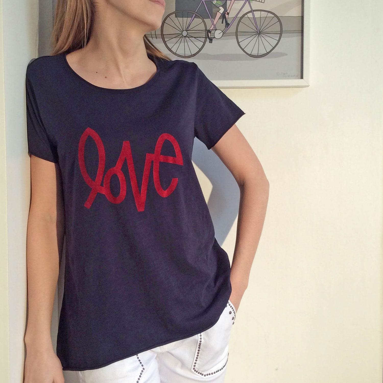 Femme Ample En Shirt Bleu Tee Pour La À Marine Coton Coupe Réalisé 80wnXOPk