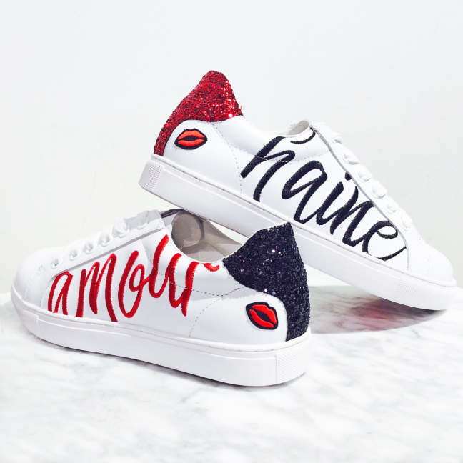 Sneakers-Cuir-Blanc-Paillettes-femme-Amour