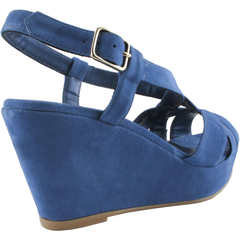 1a23b4e0a5da22 Chaussures type sandales compensées pour femme en nubuck bleu roi