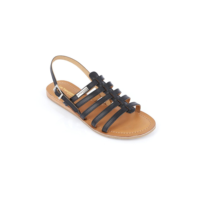 new collection size 7 sale online Sandale Les Tropezienne noire à brides parallèles et sans ...