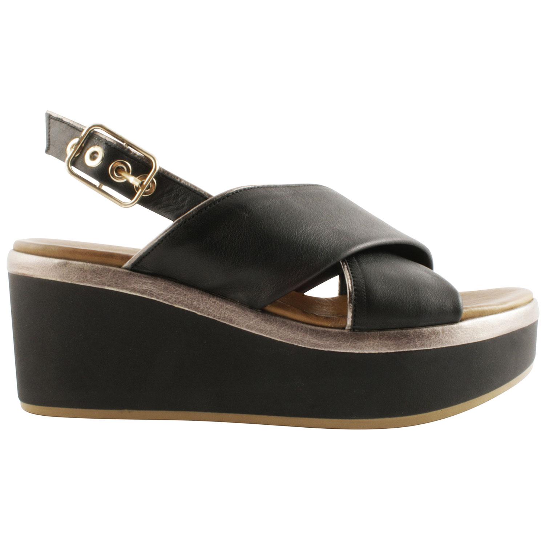 Couleur En De Femme Pour Sandales Compensées Noire Qualité Cuir D9YWEe2HI