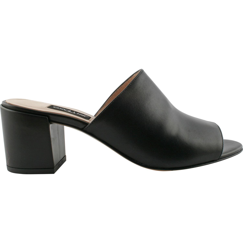 Mules à talon et bout carré Femme en cuir noir | Jonak