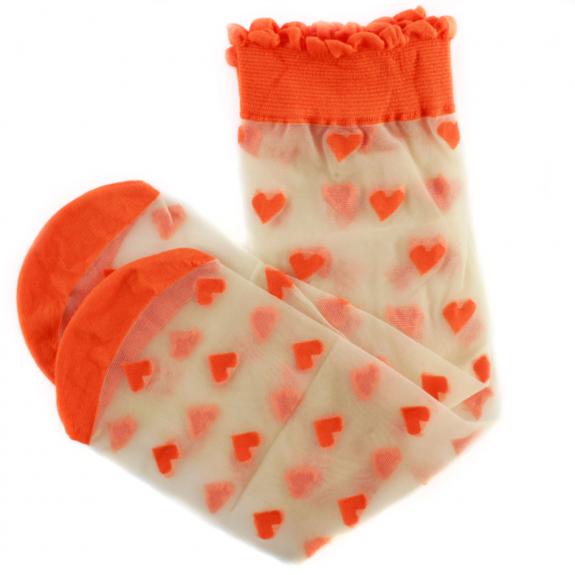 Chaussette-Dagmar-Hearts-Nylon-Orange