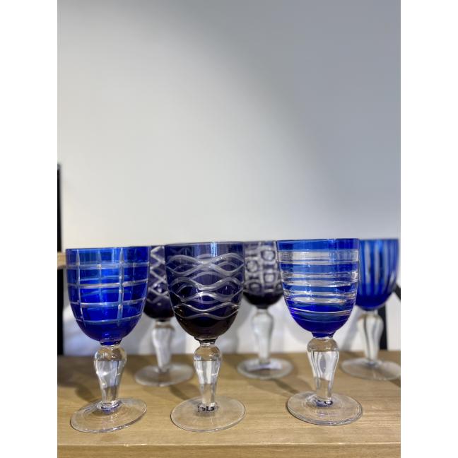 Lot de 6 verres de vin Cobalt