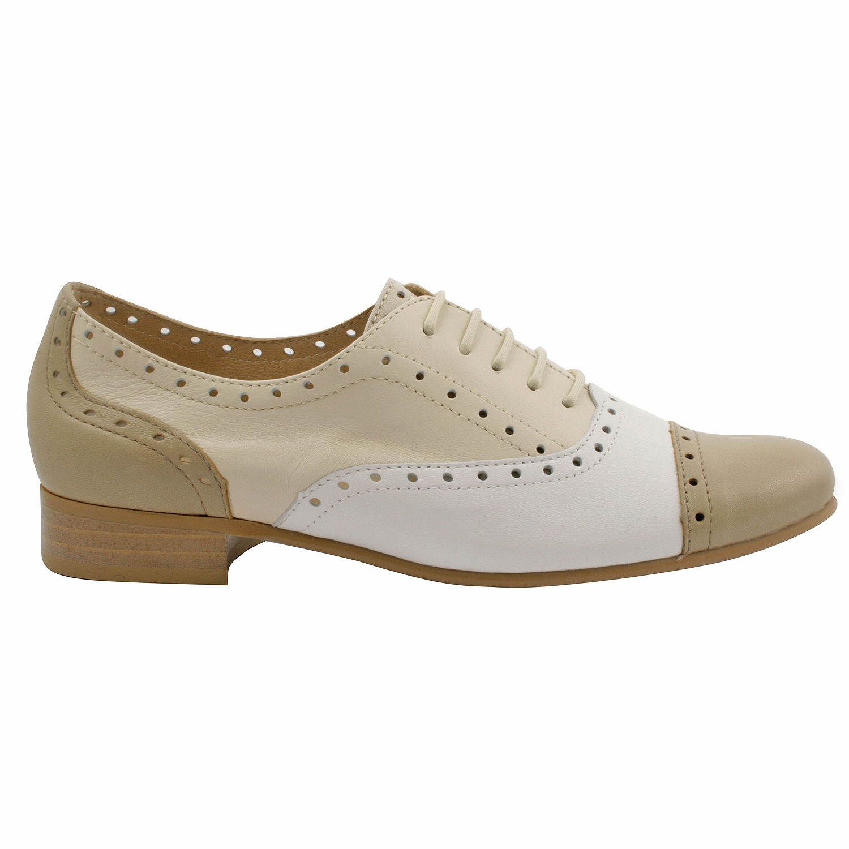 94fe4a398bf8f Derbies femme Vegga en cuir beige et blanc - Exclusif