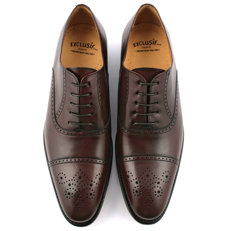 12aa7b9aee7f4b Chaussure homme luxe Russel en cuir de qualité marron - Exclusif
