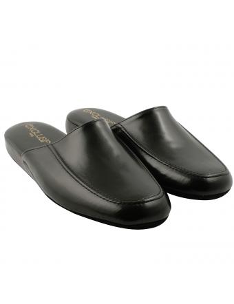 Pantoufles-homme-cuir-noir-relax-1