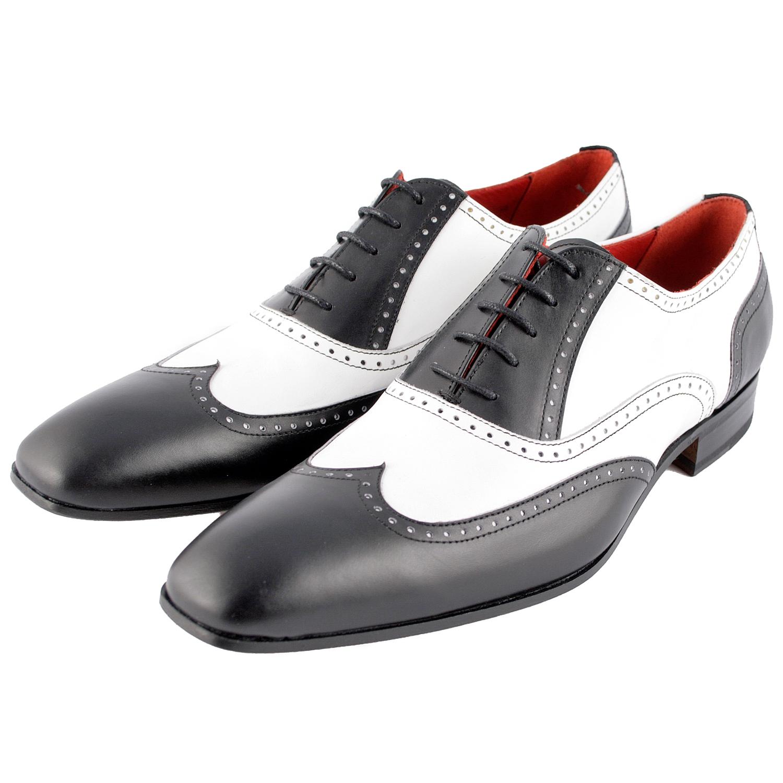 chaussure richelieu homme capone en cuir noir et blanc. Black Bedroom Furniture Sets. Home Design Ideas