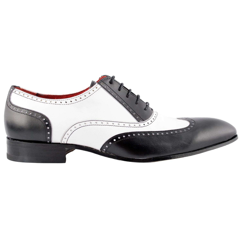 Chaussure richelieu homme Capone en cuir noir et blanc - Exclusif 41f5400b6685