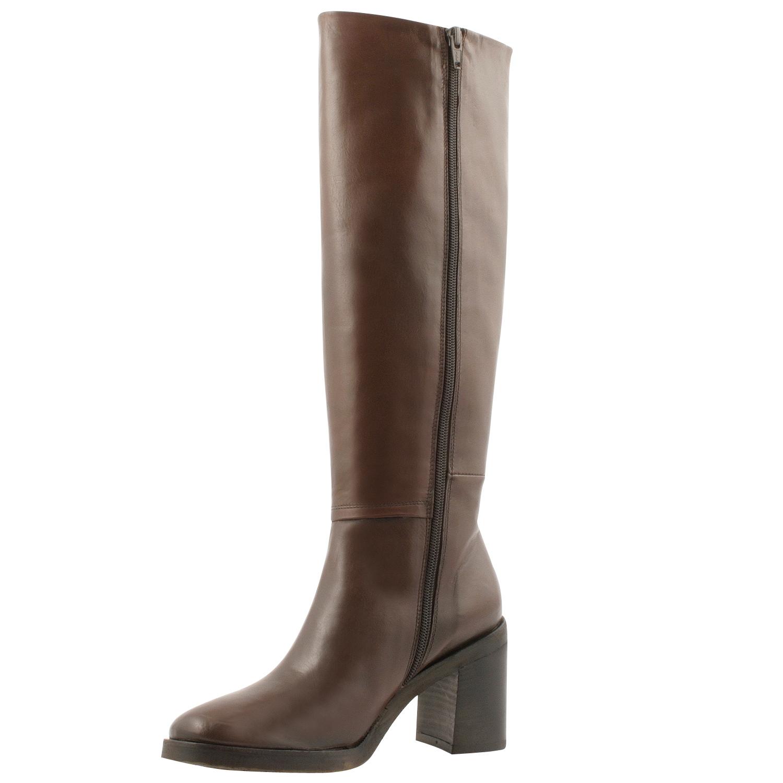 Exclusif cuir marron large bottier talon Janyce Bottes à eoxCBrd