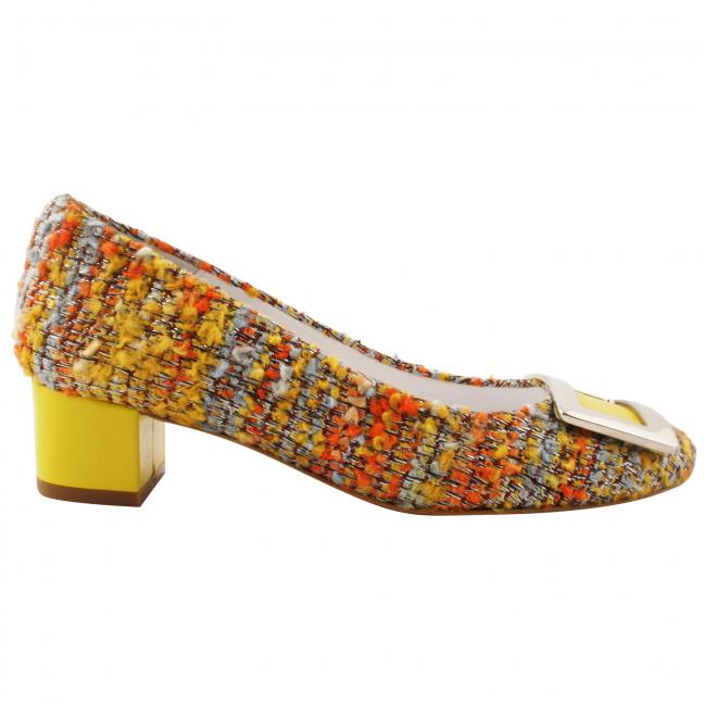 Escarpin-petit-talon-toile-multicolore-anais