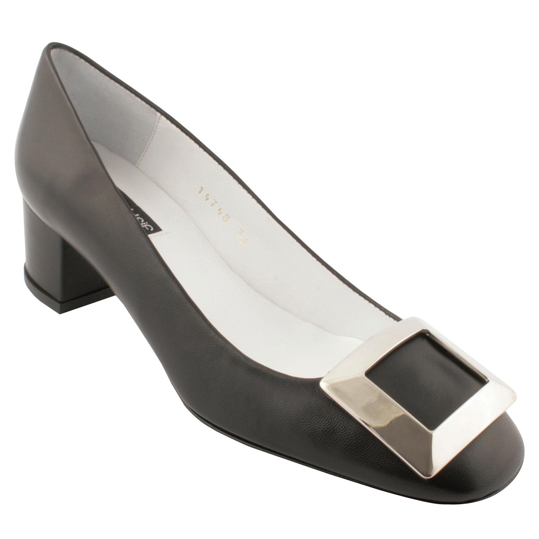 fe2df36d839a61 Chaussure petit talon Agathe en cuir de qualité noir - Exclusif