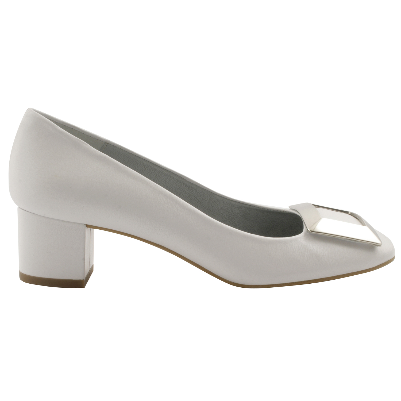 newest collection latest fashion hot product Chaussure petit talon Agathe en cuir de qualité blanc - Exclusif