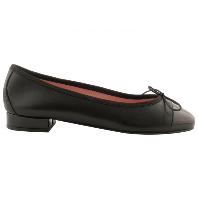 Ballerine-bicolore-Ludovica-cuir-noir