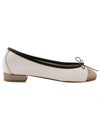 Ballerine-bicolore-Ludovica-cuir-blanc-bronze