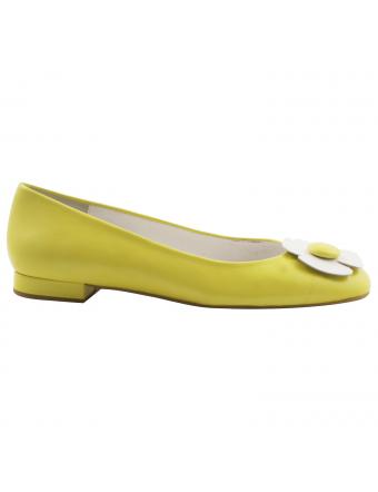 Ballerine-marguerite-cuir-jaune-Alice