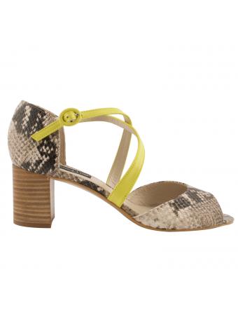 Sandales-femme-talon-carré-adele-cuir-python-jaune
