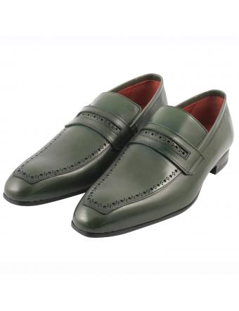 Mocassin-homme-luxe-vick-cuir-vert