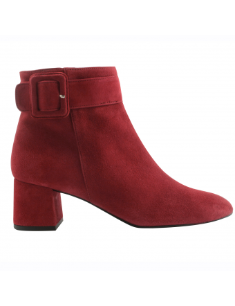Bottine-talon-trapèze-Mutine-nubuck-rouge
