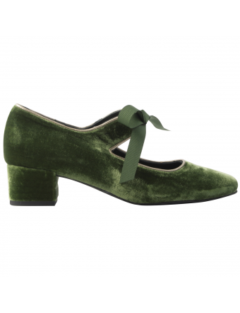 Chaussures-velours-Zoé-vert