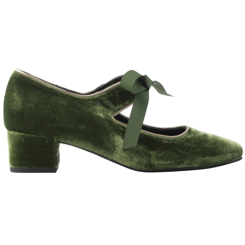 Chaussures-velours-Zoé-vert